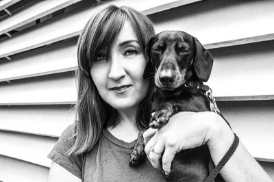 woman-with-dog-black-and-white-lifestyle-portrait